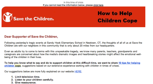 Save the Children llega después de Sandy Hook