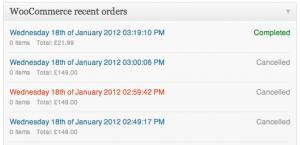 Recent Orders Widget