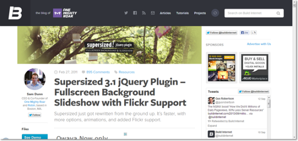 Supersized 3.1 jQuery Plugin – Fullscreen Background Slideshow with Flickr Support