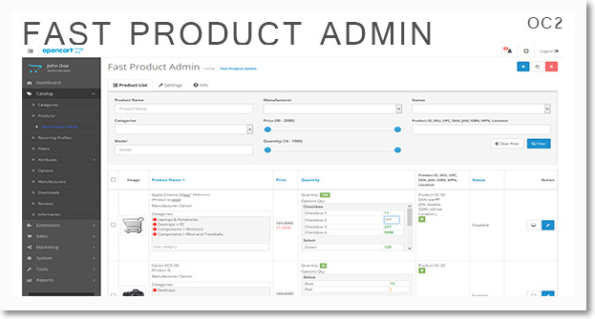 Fast Product Admin for #OpenCart 2