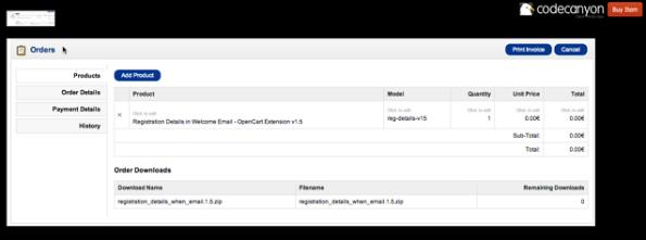 OpenCart Admin Edit Order