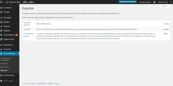 Exportar de worpreesscom a WordPressorg