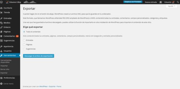 Exportar todo el contenido de WordPresscom