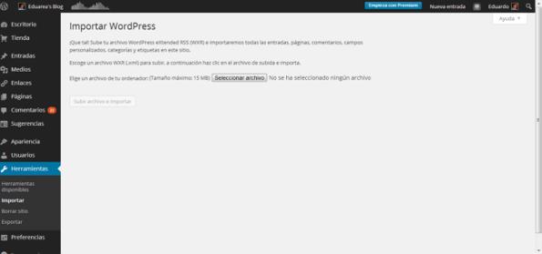 Importar WordPress