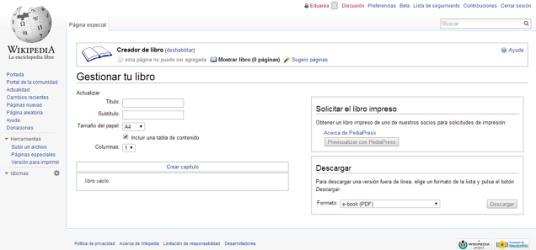 Gestionar libro en Wikipedia