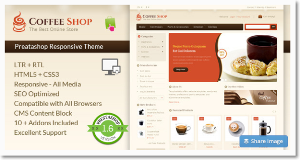 Coffee shop tema para prestashop