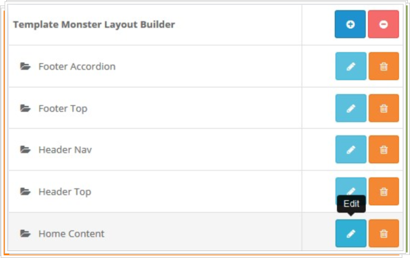 Find the TemplateMonster Layout Builder section-Press the edit button to configure the existing module